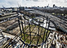 The refurbished and rebuilt Gas Holder, King's Cross February 2014